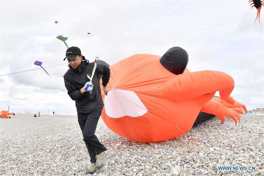 An enthusiast withdraws a kite in Dieppe, France, on Sept. 14, 2018. The 20th Dieppe International Kite Festival is held here from Sept. 8 to Sept. 16, attracting over 1,000 kite enthusiasts from 34 countries and regions. (Xinhua/Chen Yichen)