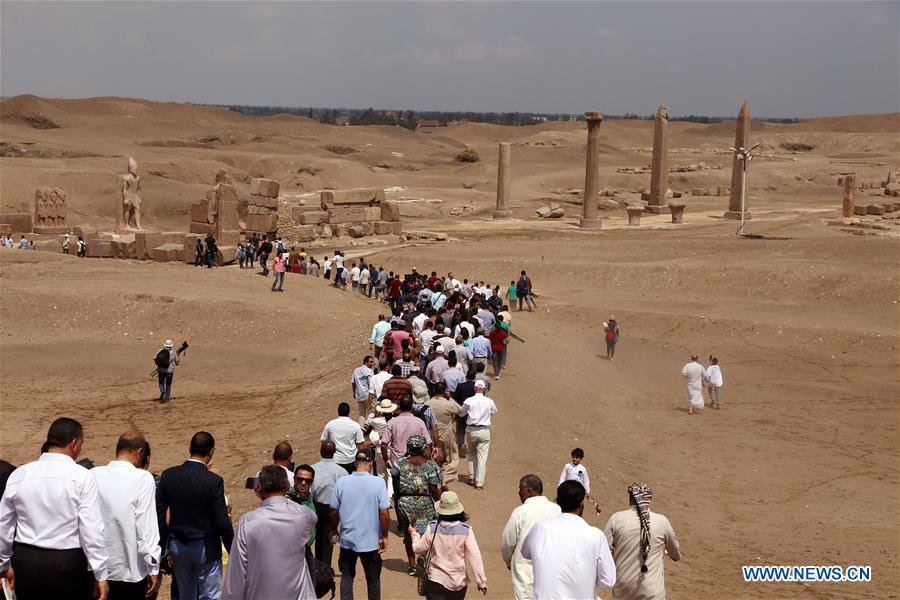 Photo taken on Sept. 15, 2018 shows an open-air museum in Sharqiya, Egypt. Some 130 kilometers away from the Egyptian capital Cairo, work continued to revive the north capital of ancient Egypt, San al-Hagar or Tanis and to turn it into an open-air museum. (Xinhua/Ahmed Gomaa)
