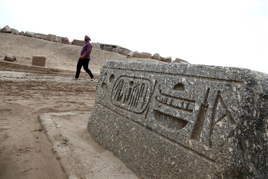 A man visits an open-air museum in Sharqiya, Egypt, on Sept. 15, 2018. Some 130 kilometers away from the Egyptian capital Cairo, work continued to revive the north capital of ancient Egypt, San al-Hagar or Tanis and to turn it into an open-air museum. TO GO WITH Feature: Egypt to turn Tanis archaeological site into open-air museum (Xinhua/Ahmed Gomaa)