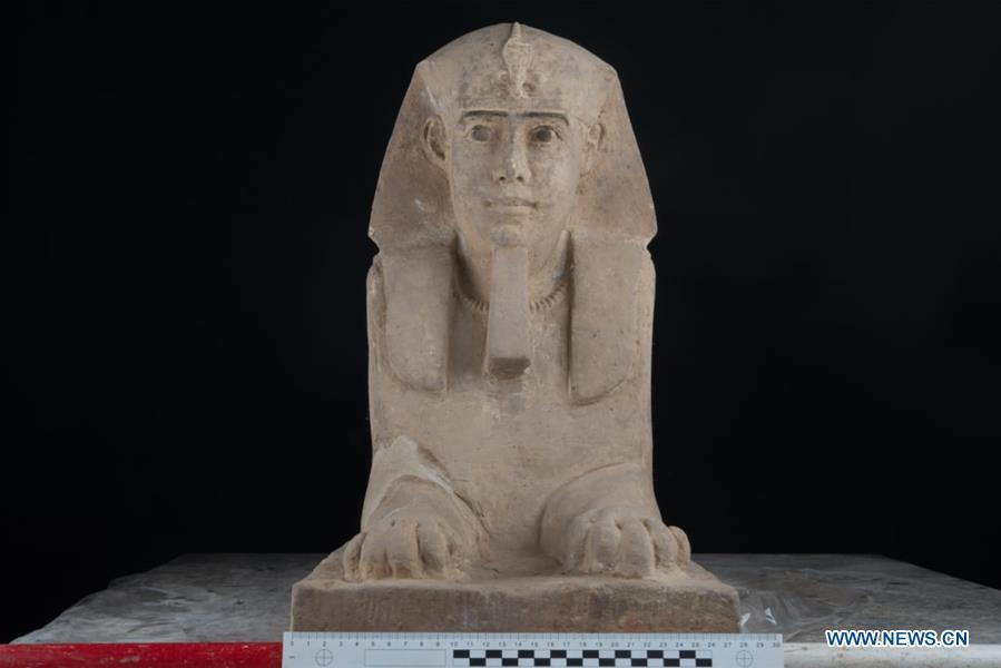 This undated photo shows a statue of sphinx which was found in the Temple of Kom Ombo in Aswan, Egypt. Egyptian Ministry of Antiquities says on Sunday an ancient sphinx statue was found in the Temple of Kom Ombo in Aswan, Egypt. (Xinhua)