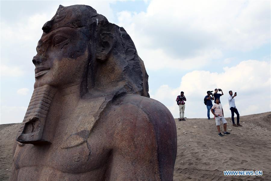 People visit an open-air museum in Sharqiya, Egypt, on Sept. 15, 2018. Some 130 kilometers away from the Egyptian capital Cairo, work continued to revive the north capital of ancient Egypt, San al-Hagar or Tanis and to turn it into an open-air museum. (Xinhua/Ahmed Gomaa)