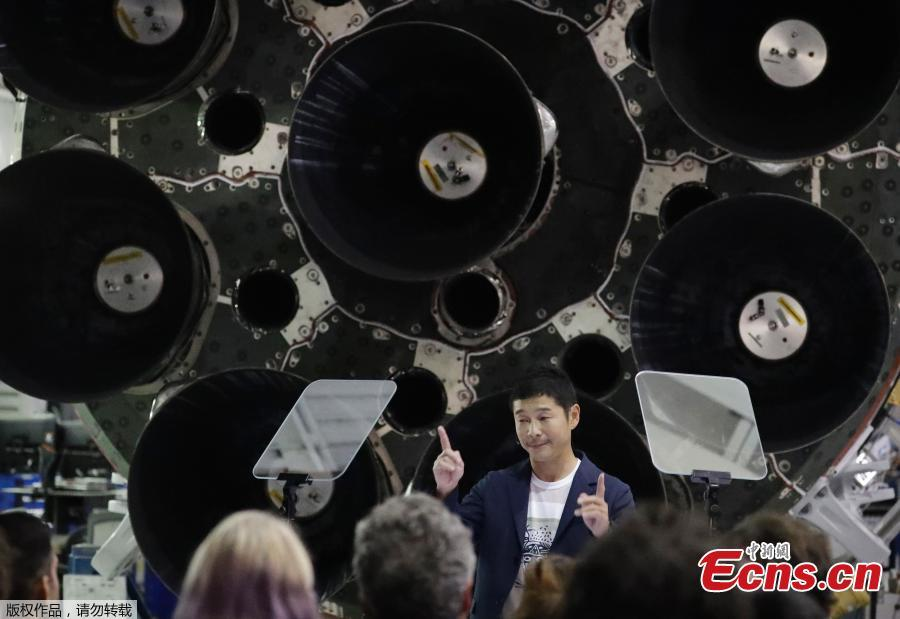 Japanese billionaire Yusaku Maezawa speaks after SpaceX founder and chief executive Elon Musk announced him as the first scheduled private passenger on a trip around the moon, Sept. 17, 2018, in Hawthorne, Calif. SpaceX named its first private passenger as Japanese businessman Yusaku Maezawa, the founder and chief executive of online fashion retailer Zozo. (Photo/Agencies)