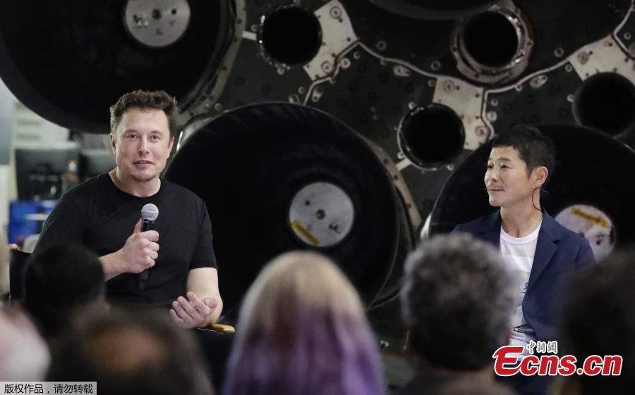 SpaceX founder and chief executive Elon Musk speaks after announcing Japanese billionaire Yusaku Maezawa as the first private passenger on a trip around the moon, Sept. 17, 2018, in Hawthorne, Calif. SpaceX named its first private passenger as Japanese businessman Yusaku Maezawa, the founder and chief executive of online fashion retailer Zozo. (Photo/Agencies)