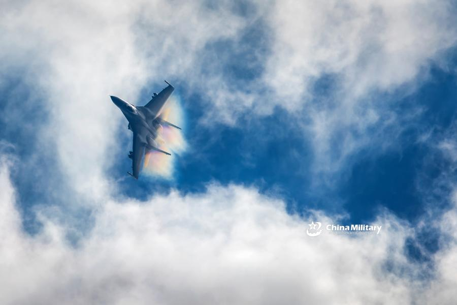 A J-11B fighter jet attached to an aviation brigade of the air force with the PLA Northern Theater Command dives from the sky to attack mock ground targets during a recent round-the-clock flight training exercise. (Photo/eng.chinamil.com.cn)