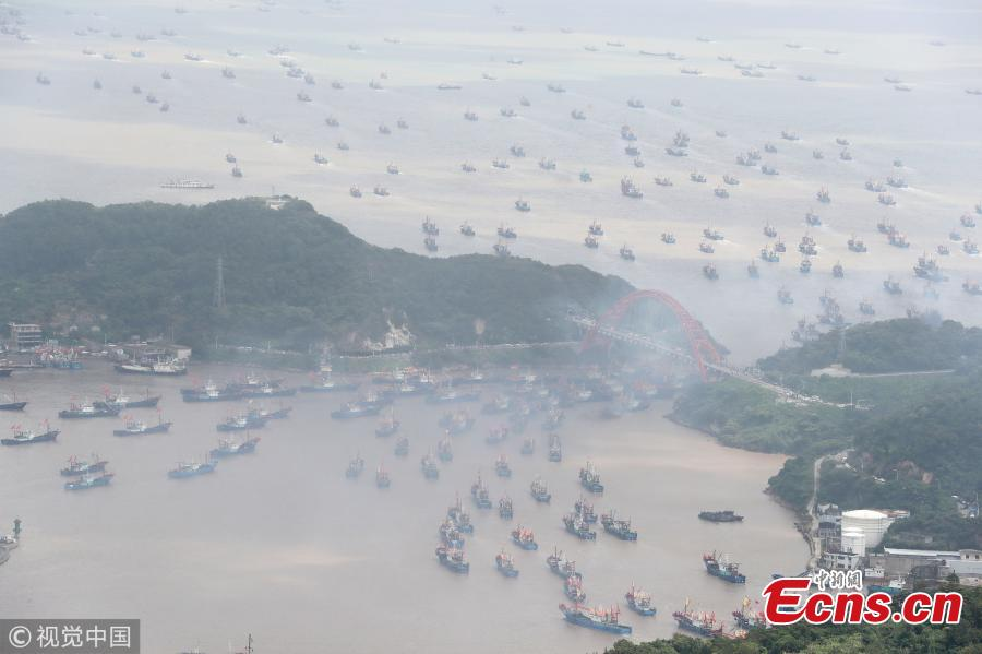 Fishing boats sail in the sea area of Ningbo, East China\'s Zhejiang Province, Sept. 16, 2018. A fishing ban, imposed on the Yellow Sea and the East China Sea from May 1 to Sept. 16, was lifted on Sunday. (Photo/VCG)