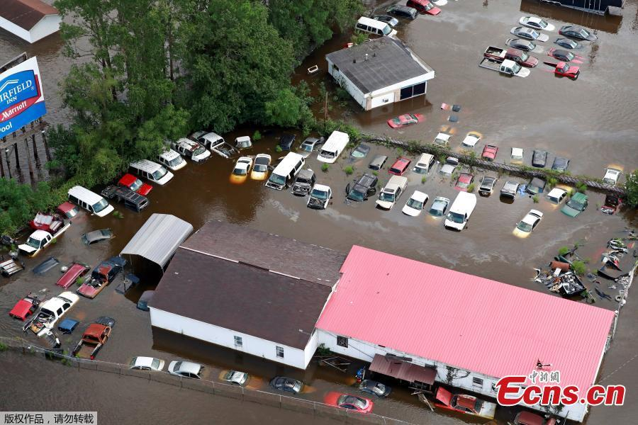 Cars sit in floodwater caused by Hurricane Florence, in this aerial picture, in Lumberton, North Carolina, U.S., Sept. 16, 2018. (Photo/Agencies)