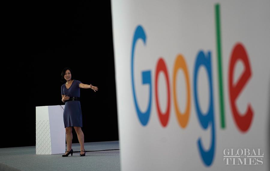 A host introduces Google technologies. (Photo: Yang Hui/GT)