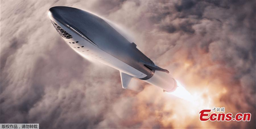 An artist\'s impression of SpaceX\'s BFR spacecraft. SpaceX founder and chief executive Elon Musk announced Japanese billionaire Yusaku Maezawa will be the first SpaceX private passenger to circle the moon aboard SpaceX's BFR launch vehicle. (Photo/Agencies)