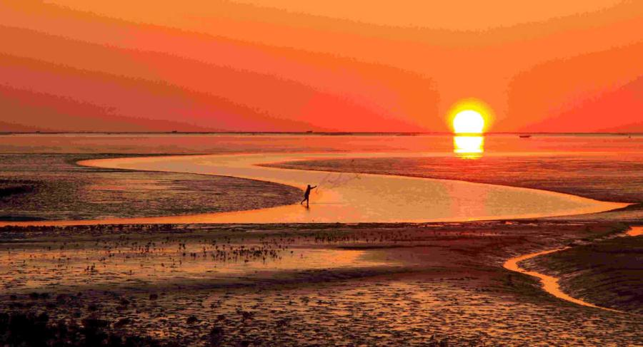 Sunrise casts a deep burnt orange over the Yellow River estuary area, where a fisherman throws a net into the water. (Photo provided to chinadaily.com.cn)
