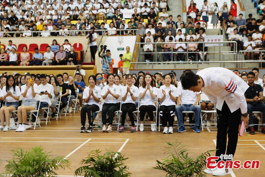 Chinese swimmer Sun Yang attend the opening ceremony of autumn semester at Shanghai University of Sport in Shanghai, Sept. 19, 2018. Triple Olympic champion Sun Yang is now back to school to take a PhD program, with a major in kinesiology. (Photo: China News Service/Yin Liqin)