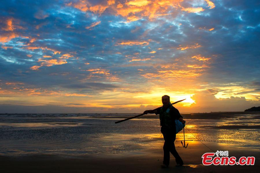 A fisherman works at a beach at sunset in Beihai City, South China's Guangxi Zhuang Autonomous Region, Sept. 18, 2018. (Photo: China News Service/Xu Shaorong)