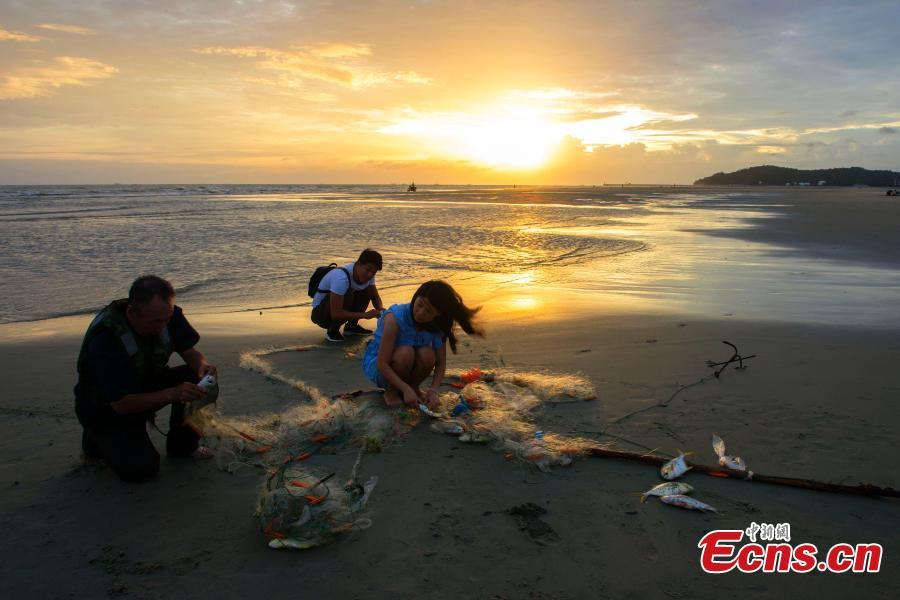 <?php echo strip_tags(addslashes(Tourists help a fisherman on a beach at sunset in Beihai City, South China's Guangxi Zhuang Autonomous Region, Sept. 18, 2018. (Photo: China News Service/Xu Shaorong))) ?>