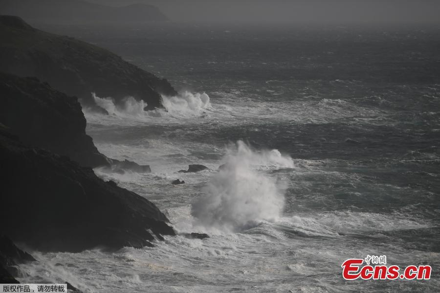 Rough seas are seen from Slea Head during Storm Ali in Coumeenoole, Ireland, Sept. 19, 2018. A woman died on Wednesday when high winds blew her caravan off a cliff in the Irish Republic and a man died in Northern Ireland as Storm Ali grounded flights and left over 200,000 people across the island without electricity. (Photo/Agencies)