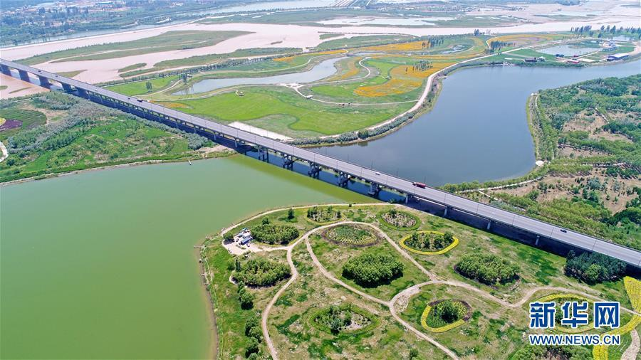 A photo taken June 26 shows a view of the Yellow River wetland park in Wuzhong city, Ningxia Hui autonomous region. (Photo/Xinhua)