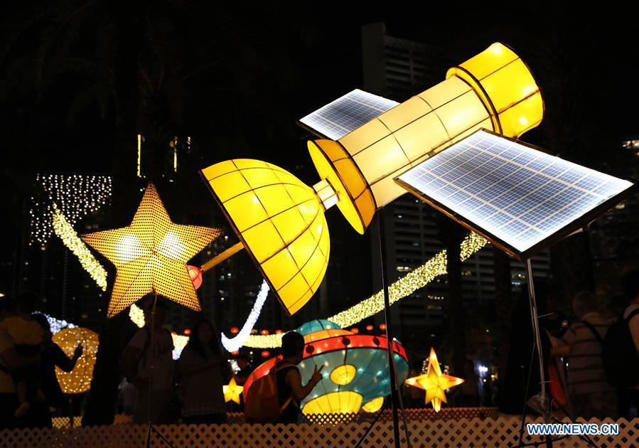 Fancy lanterns are displayed at the Victoria Park to greet the Mid-Autumn Festival in Hong Kong, south China, Sept. 22, 2018. The traditional Mid-Autumn Festival falls on the 15th day of the eighth month of the Chinese lunar calendar, or Sept. 24 this year. (Xinhua/Wu Xiaochu)