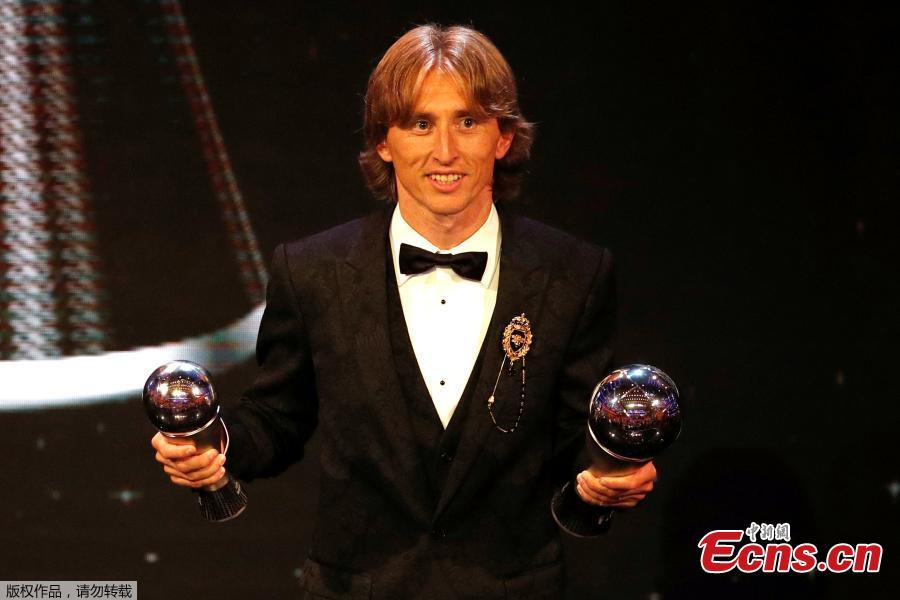 Real Madrid and Croatia midfielder Luka Modric after winning the trophy for the Best Fifa Men's Player of 2018 award in London. (Photo/Agencies)