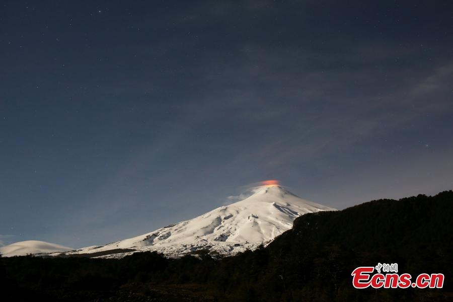 The Villarica volcano near Pucon, Chile shows signs of activity, Sept. 24,2018. Villarrica Volcano is among the most active in South America. (Photo/Agencies)