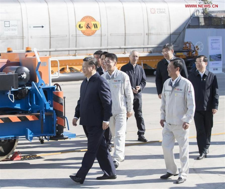 Chinese President Xi Jinping, also general secretary of the Communist Party of China (CPC) Central Committee and chairman of the Central Military Commission, visits China Railway Rolling Stock Corporation (CRRC) Qiqihar Co. in Qiqihar, northeast China\'s Heilongjiang Province, Sept. 26, 2018. Xi inspected Qiqihar on Wednesday. (Xinhua/Wang Ye)