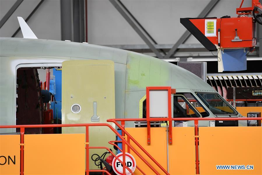 Photo taken on Sept. 27, 2018 shows the plane at Airbus\' Tianjin final assembly line for the A320-family of jets in north China\'s Tianjin. From the time it was established in 2008 until the end of this August, the Tianjin final assembly line assembled and delivered a total of 378 A320s. (Xinhua/Li Ran)