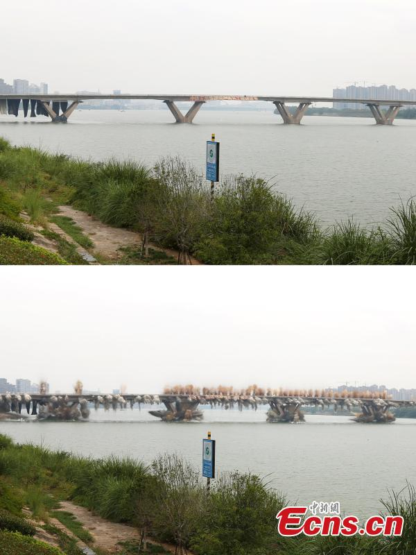 An old bridge before and after a controlled explosion in Ji'an City, East China's Jiangxi Province, Sept. 28, 2018. The bridge, 1,577 meters long and 19.5 meters wide, fell into disrepair after heavy traffic amid rapid economic growth. (Photo: China News Service/Hong Yi)