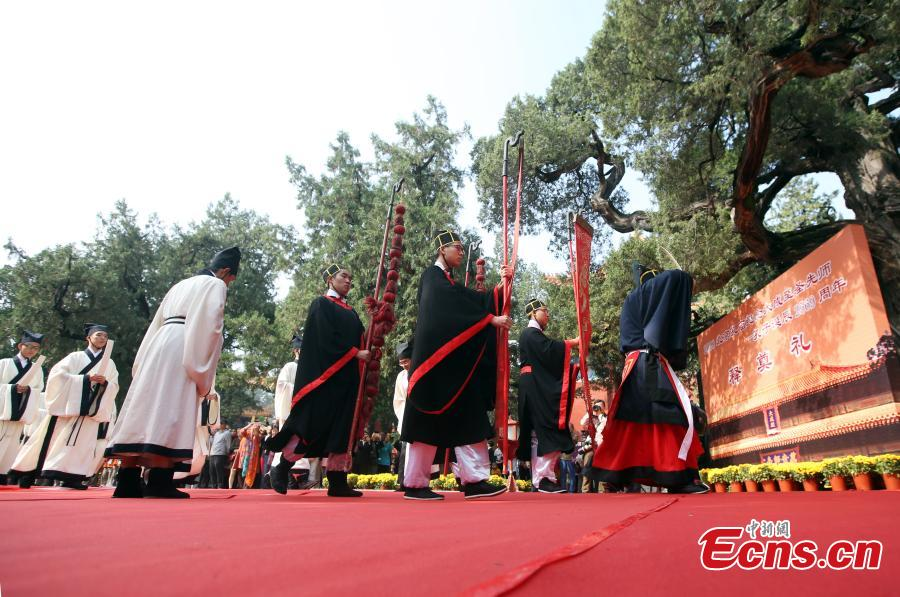 Participants wearing traditional costumes perform during a ritual to mark the 2,569th birthday of Confucius atthe Temple of Confucius in Beijing, Sept. 28, 2018. Confucius (551 BC-479 BC) was a great thinker, philosopher, and educator in ancient China. Confucius and his philosophy have profoundly influenced the Chinese politics, values and ethics. (Photo: China News Service/Bian Zhengfeng)