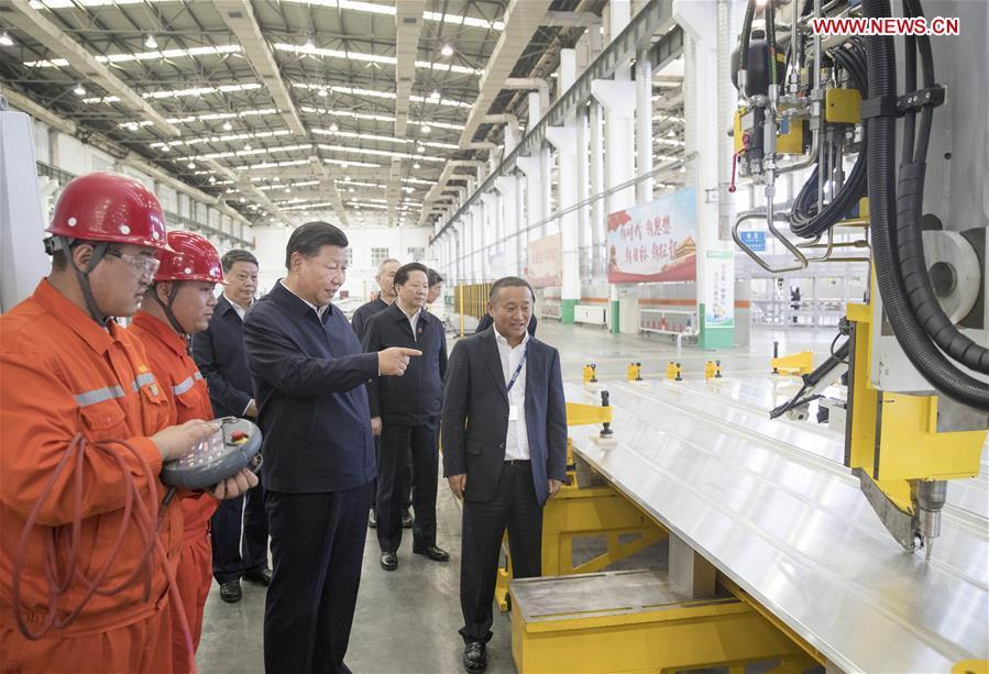 Chinese President Xi Jinping, also general secretary of the Communist Party of China (CPC) Central Committee and chairman of the Central Military Commission, visits a workshop of Liaoning-based China Zhongwang Holding in northeast China\'s Liaoning Province, Sept. 27, 2018. Xi started an inspection tour in Liaoning on Thursday. (Xinhua/Wang Ye)