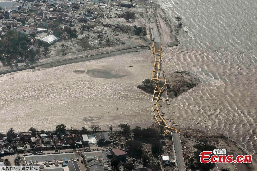 An aerial view shows bridge damaged by an earthquake and tsunami in Palu, Central Sulawesi, Indonesia September 29, 2018. (Photo/Agencies)