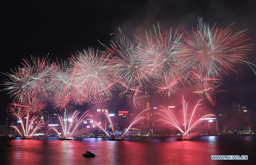 Fireworks are seen during the celebration of China\'s National Day, in Hong Kong, south China, Oct. 1, 2018. People celebrate the 69th anniversary of the founding of the People\'s Republic of China on Monday. (Xinhua/Li Gang)