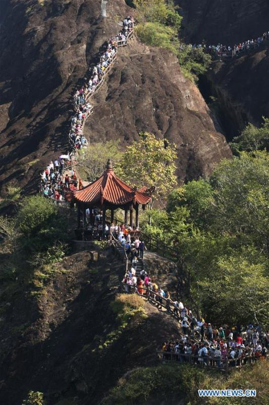 <?php echo strip_tags(addslashes(Tourists visit Tianyou Peak of Wuyi Mountain in southeast China's Fujian Province, Oct. 3, 2018, the third day of the week-long National Day holiday. (Xinhua/Qiu Ruquan))) ?>