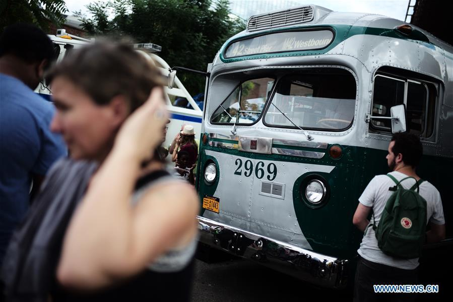 A vintage bus is seen during the 25th Annual Bus Festival in New York, the United States, on Oct. 7, 2018. The New York Transit Museum held its 25th annual bus festival on Sunday. The buses on display represent about 80 years of surface transit history in New York City. The oldest bus at the festival, Bus 1263, is a double-decker bus that was purchased by the Fifth Avenue Bus Company in 1930. (Xinhua/Li Muzi)
