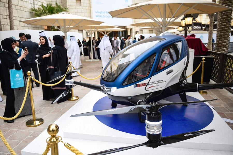 The Ehang 184 passenger drone is displayed in Dubai. The electrically powered drone, developed by a company in Guangzhou, can carry a passenger weighing up to 100 kilograms and can travel at speeds of up to 100 kilometers per hour. (Photo/CHINA DAILY)