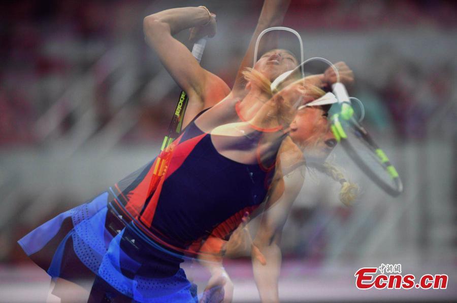 Caroline Wozniacki of Denmark in action against Anastasija Sevastova of Latvia at the final of women's singles during the China Open in National Tennis Center, Beijing, China, October 7, 2018. (Photo: China News Service/Li Peirun)
