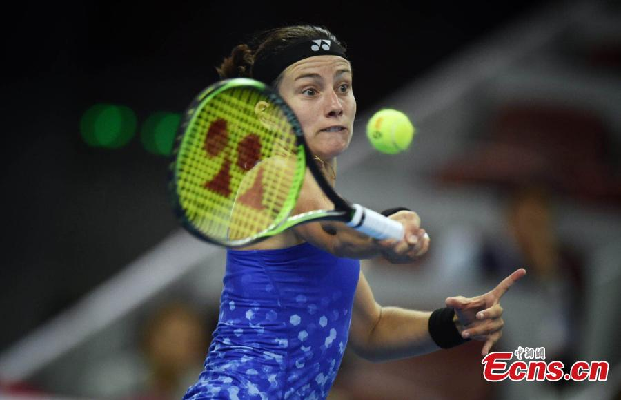 Anastasija Sevastova of Latvia competes against Caroline Wozniacki of Denmark at the final of women's singles during the China Open in National Tennis Center, Beijing, China, October 7, 2018. (Photo: China News Service/Li Peirun)