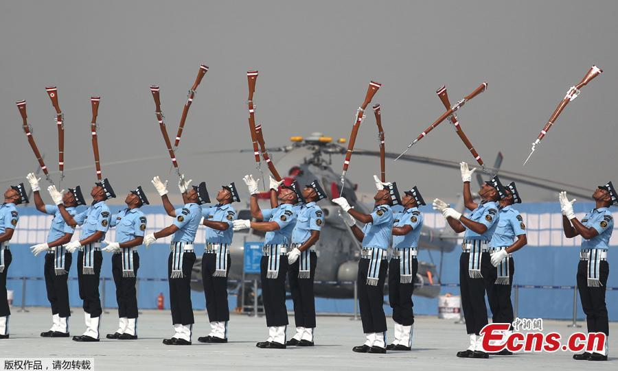 Air Warrior Drill Team of Indian Air Force display their skills during Air Force day parade at the Hindon air base on the outskirts of New Delhi, India, Monday, Oct. 8, 2018. Air Force Day is celebrated to mark the day the Indian air force was officially established in 1932. Apart from defending Indian air space, the air force also delivers humanitarian aid and disaster relief material during natural calamities. (Photo/Agencies)
