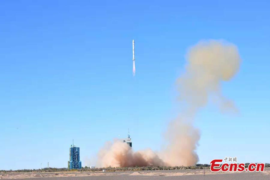 Two remote sensing satellites, both part of the Yaogan-32 family, are launched by a Long March-2C rocket with an attached upper stage named Yuanzheng-1S, or Expedition-1S, at the Jiuquan Satellite Launch Center in Jiuquan, northwest China\'s Gansu Province, Oct. 9, 2018. This was the first flight of the upper stage of Expedition-1S. (Photo: China News Service/Wang Jiangbo & Hao Yutong)