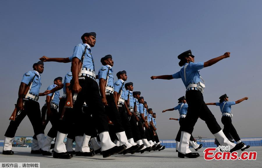 Indian Air Force personnel march during the Air Force Day parade at the Air Force station Hindon in Ghaziabad town on the outskirts of New Delhi on October 8, 2018. Air Force Day is celebrated to mark the day the Indian air force was officially established in 1932. Apart from defending Indian air space, the air force also delivers humanitarian aid and disaster relief material during natural calamities. (Photo/Agencies)