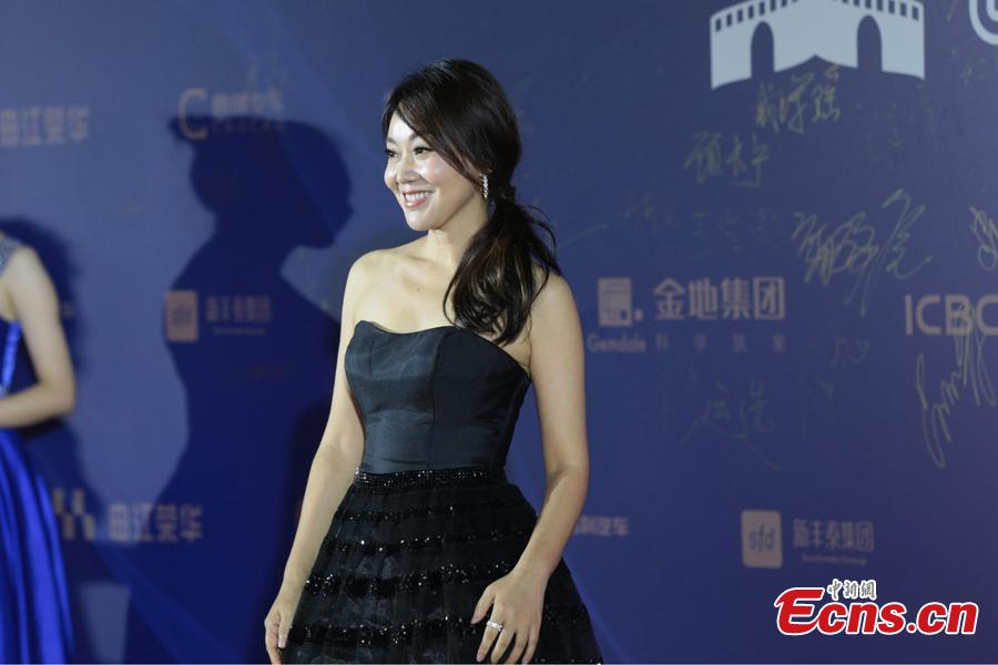 Chinese actress Yan Ni walks on the red carpet at the 5th Silk Road International Film Festival in Xi'an City, Northwest China's Shaanxi Province, Oct. 8, 2018. (Photo: China News Service/Zhang Yuan)