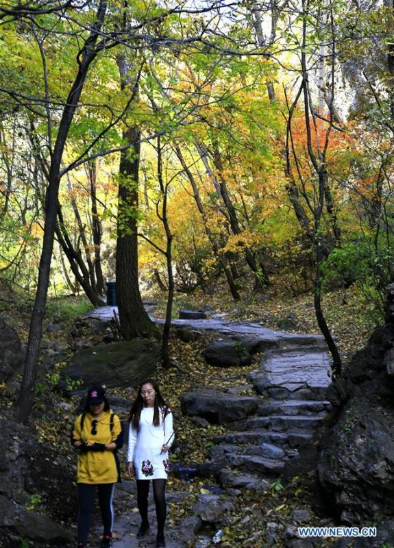 Tourists visit the Yudushan scenic area in Yanqing District of Beijing, capital of China, Oct. 10, 2018. (Xinhua/Li Xin)