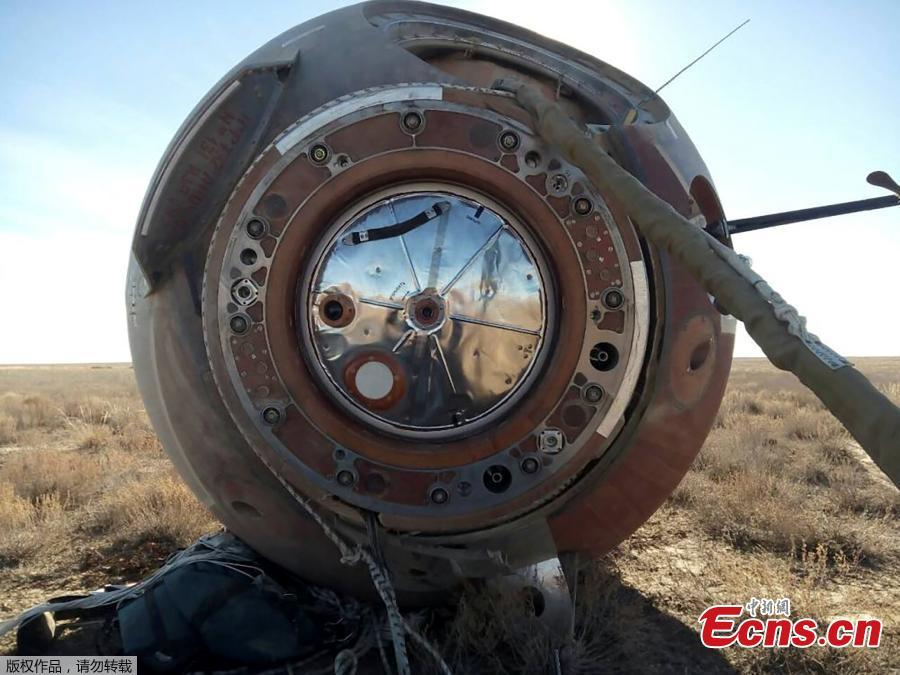 A view shows the Soyuz capsule transporting U.S. astronaut Nick Hague and Russian cosmonaut Alexei Ovchinin, after it made an emergency landing following a failure of its booster rockets, near the city of Zhezkazgan in central Kazakhstan October 11, 2018.(Photo/Agencies)