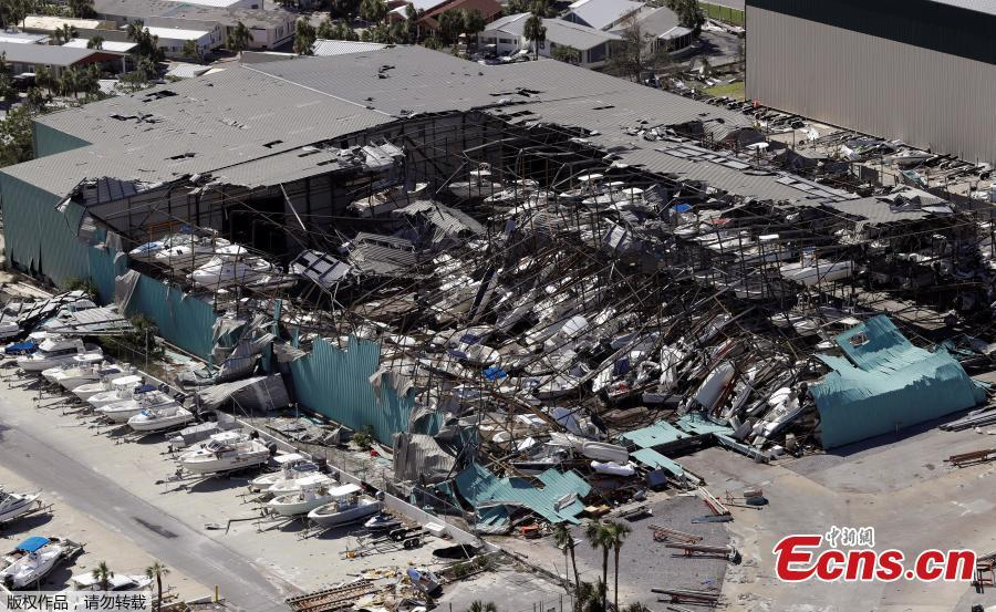 Aerial photo shows homes destroyed after Hurricane Michael smashed into Florida\'s northwest coast in Mexico Beach, Florida, U.S., October 11, 2018. (Photo/Agencies)