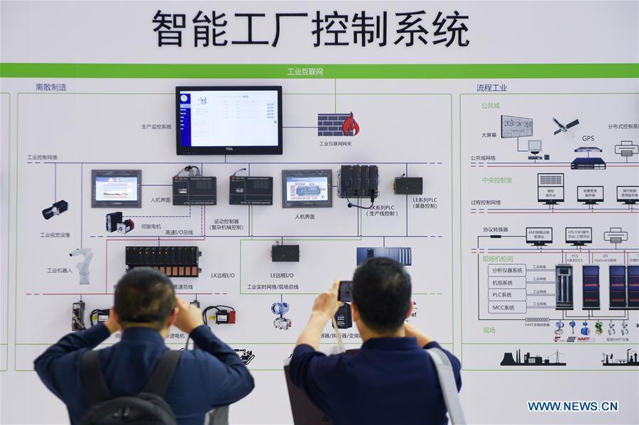 Visitors look at a smart factory control system during the World Intelligent Manufacturing Summit (WIMS) 2018 in Nanjing, east China\'s Jiangsu Province, Oct. 11, 2018. The WIMS 2018 opened at the Nanjing International Expo Center on Thursday. The event attracts over 1,900 exhibitors worldwide to showcase the latest technologies, advanced products, development trends and cutting-edge solutions in the intelligent manufacturing field. (Xinhua/Li Bo)