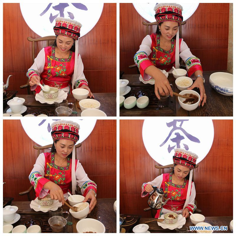 Combined photo shows a woman of Bai ethnic group making the Reunion Tea for the guests from afar at the Suoziqiu Village of Mahekou Township in Sangzhi County of Zhangjiajie City, central China\'s Hunan Province, Oct. 11, 2018. People of the Bai ethnic group here still follow the welcoming tradition of their immigrated ancestors to offer \