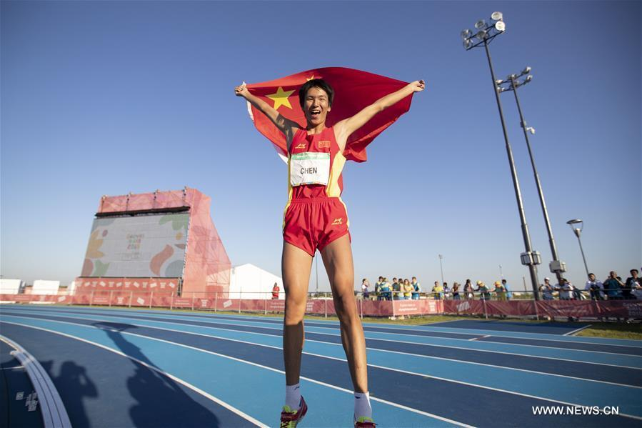 Chen Long of China celebrates after the men\'s high jump of athletics event at the 2018 Summer Youth Olympic Games in Buenos Aires, Argentina, on Oct. 14, 2018. Chen won the gold medal. (Xinhua/Li Ming)