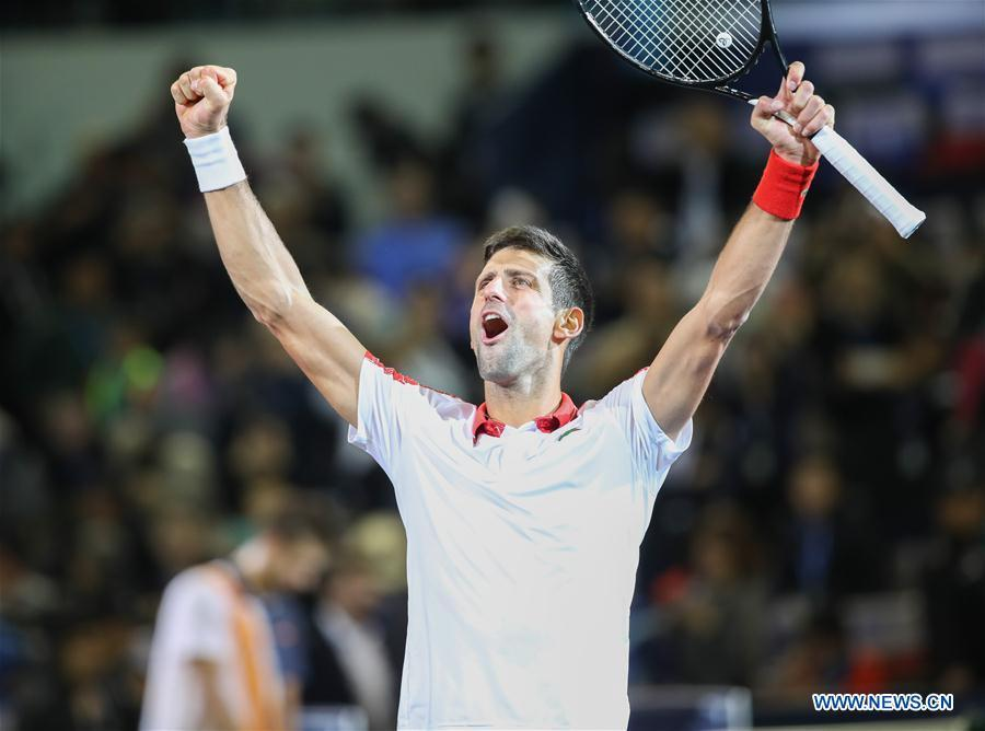 Novak Djokovic of Serbia celebrates after winning the men\'s singles final against Borna Coric of Croatia at 2018 ATP Shanghai Masters tennis tournament in Shanghai, east China, Oct. 14, 2018. Novak Djokovic won 2-0 in the final and claimed the title of the event. (Xinhua/Ding Ting)