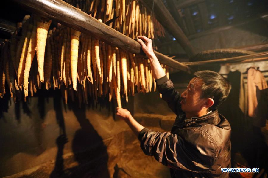 A farmer checks bamboo shoots during a baking process in Lianhua Village of Baoyuan Township, Chishui, southwest China\'s Guizhou Province, Oct. 14, 2018. There are 1.32 million mu (0.88 million hectares) of bamboo forests in Chishui. The bamboo-related industry has become an income booster for the locals. (Xinhua/Wang Changyu)