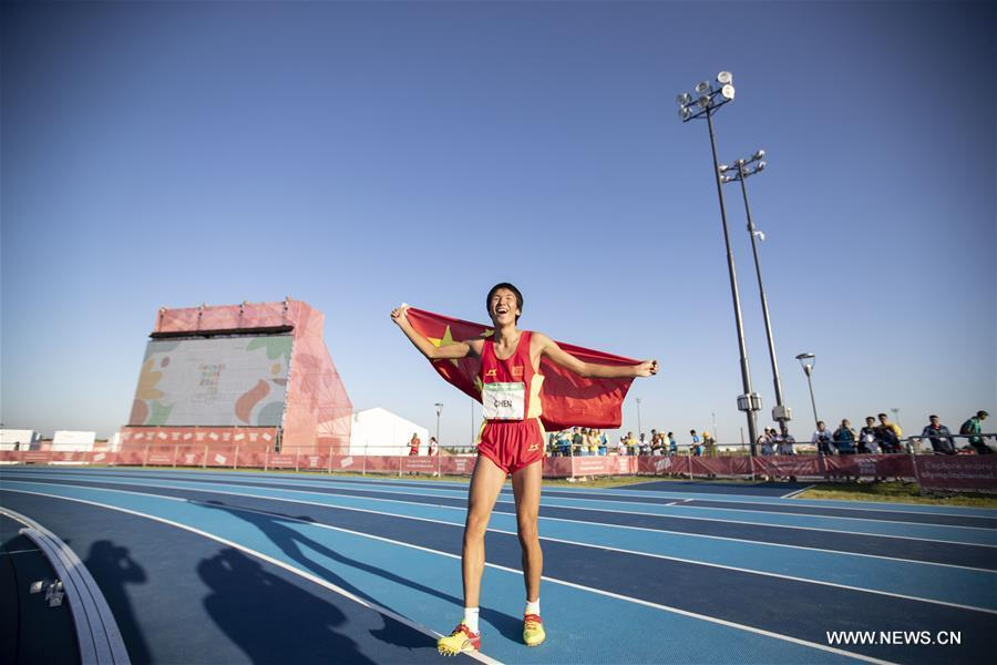 Chen Long of China celebrates after the men\'s high jump of athletics event at the 2018 Summer Youth Olympic Games in Buenos Aires, Argentina, on October 14, 2018. Chen won the gold medal. (Xinhua/Li Ming)