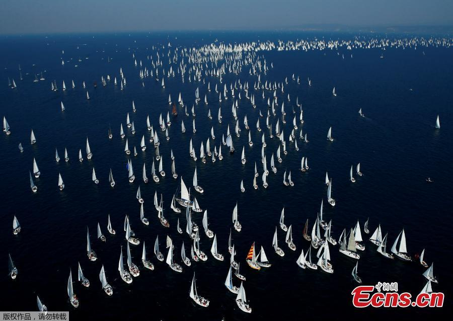 Sailboats gather during the Barcolana regatta in front of the Trieste harbour, Italy, Oct. 14, 2018. The annual Barcolana regatta, one of the largest sailing races in the world, takes place on the second Sunday in October and began in 1969. (Photo/Agencies)