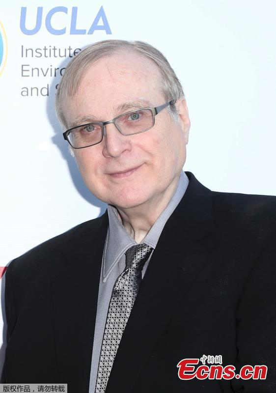 Paul Allen at the UCLA Institute of the Environment and Sustainability annual gala celebrating Innovators for a Healthy Planet at private resident in California on March 13, 2017. Microsoft Corp co-founder Paul Allen, the man who persuaded school-friend Bill Gates to drop out of Harvard to start what became the world's biggest software company, died on Monday at the age of 65, his family said. (Photo/Agencies)