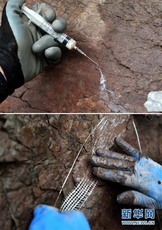 Photos taken on Oct. 15, 2018 show experts trying to repair rock to prevent further damage to dinosaur footprints in Yanqing Geopark in Beijing. Experts from the Petrified Forest of Lesbos in Greece, China University of Geosciences (Beijing) and Yanqing Geopark are launching a new round of experimental conservation efforts for the dinosaur footprints formed about 150 million years ago and now suffering from erosion and weathering. (Photo/Xinhua)
