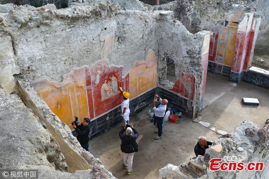 A top view of the House with Garden, a new excavation in the Regio V of the Pompeii excavations in Italy, Oct. 16, 2018. (Photo/VCG)